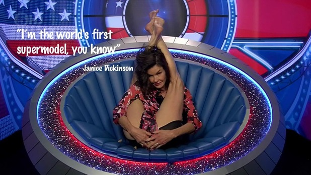 Janice Dickinson seen doing yoga in the diary room on 'Celebrity Big Brother'. Broadcast on Channel 5 HD. 8 September 2015.