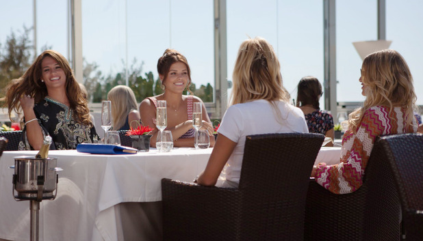 TOWIE newcomer Nicole Bass has lunch with the girls in Marbella. 27 Sep 2015.
