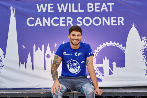 Jake Quickenden and Danielle Fogarty take part in Cancer Research UK's Shine Night Walk - 27 September 2015.