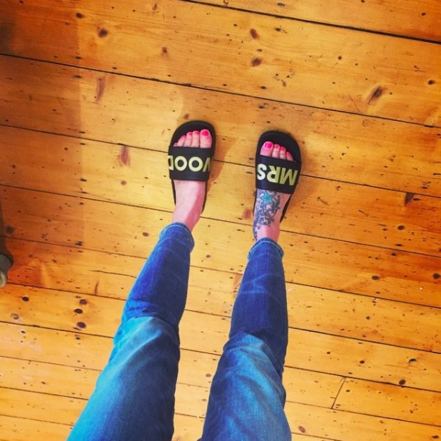 Fearne Cotton shows off slider slippers with husband's name on them, October 2015.