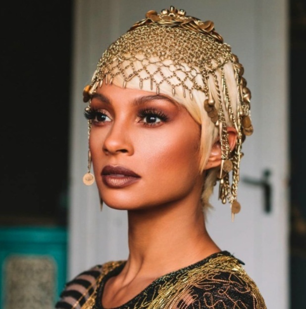 Alesha Dixon wearing gold beaded headpiece in new music video for Tallest Girl, 28th September 2015