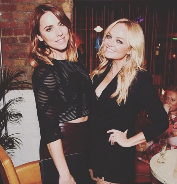 Melanie Chisholm hangs out with Emma Bunton after Emma's performance in The Rocky Horror Show charity gala in aid of Amnesty International, 17 September 2015