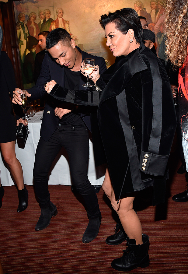 Olivier Rousteing and Kris Jenner attend Balmain aftershow party as part of Paris Fashion Week Womenswear Spring/Summer 2016 at Laperouse on October 1, 2015 in Paris, France. (Photo by Jacopo Raule/Getty Images for Balmain)