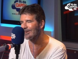 Simon Cowell performs Flo Rida hit 'I Don't Like It, I Love It' on Capital FM radio for Global's Make Some Noise Day - 8 October 2015.