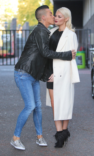 Towie stars Jessica Wright, Chloe Sims and Bobby Norris outside ITV Studios. 9 October 2015.