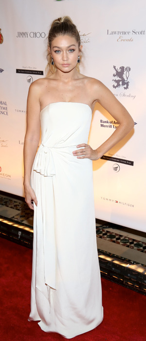 "Gigi Hadid wears white dress to ""Uniting for a Lyme-Free World"" Gala in New York October 08, 2015"