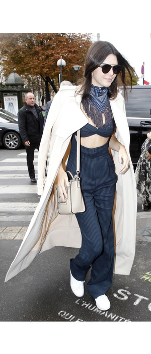 Kendall Jenner walking to lunch after Chanel Paris Fashion Week show 6th October 2015