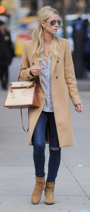 Nicky Hilton out and about in New York, camel coat and matching tote bag 6th October 2015