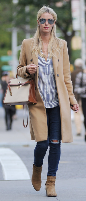 Nicky Hilton out and about in New York wearing camel coat 6th October 2015