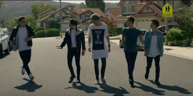Brad Simpson, James McVey, Connor Ball, Tristan Evans and Brooklyn Beckham star in The Vamps 'Wake Me Up' video, 5th October 2015