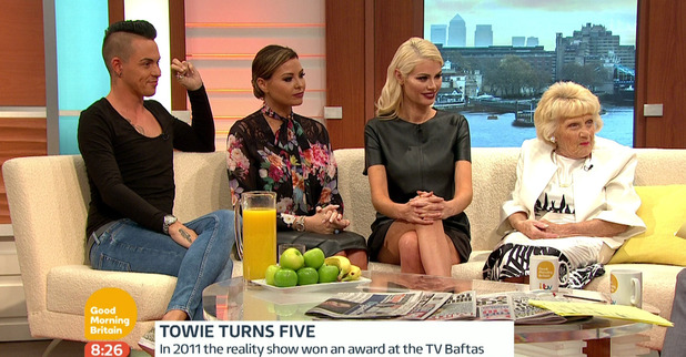 The Only Way Is Essex: Jessica Wright, Nanny Pat, Chloe Sims and Bobby Norris celebrate TOWIE's fifth anniversary on Good Morning Britain- 9 October 2015.