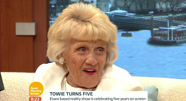 The Only Way Is Essex cast member Nanny Pat promoting the new series of the show which is celebrating its fifth anniversary, on Good Morning Britain. 9 October 2015.