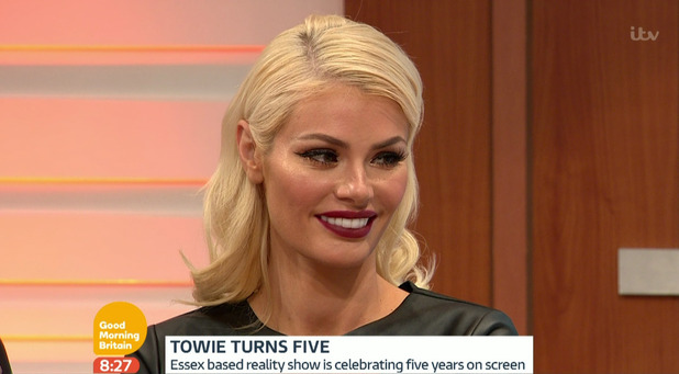 The Only Way Is Essex cast member Chloe Sims on Good Morning Britain. 9 October 2015.