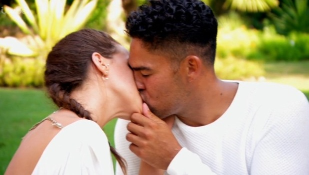 Adam and Lola kissing on Life On Marbs - 7 October 2015.