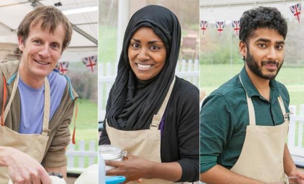 The Great British Bake Off finalists - Nadiya Hussain, Ian Cumming, Tamal Ray - 7 October 2015.