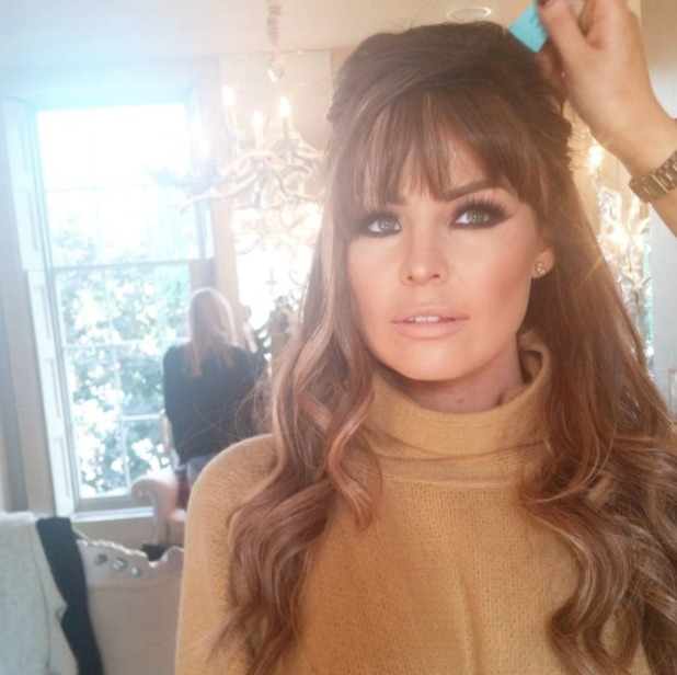 TOWIE's Jess Wright sports a fringe behind-the-scenes on photoshoot for new AW15 collection for Lipstick Boutique, 5 October 2015