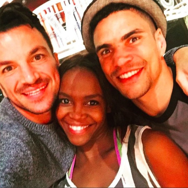 Peter Andre backstage with Strictly professional dancer Oti Mabuse and fellow amateur Anthony Ogogo, 09 October 2015.