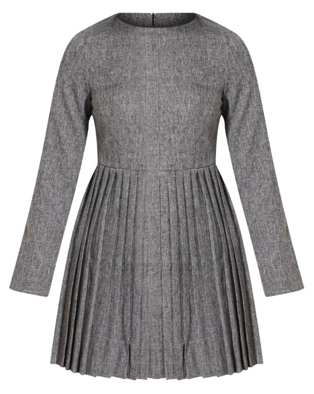 Kay Grey Pleated Long Sleeved Mini Dress Pretty Little Thing, £25