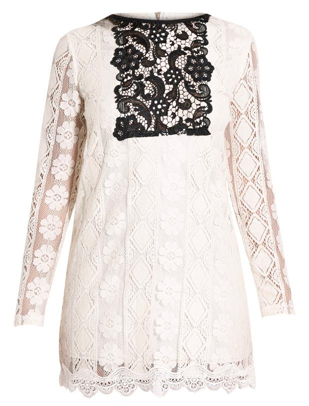 Polli Cream Lace Bib Swing Dress, Pretty Little Thing, £25.00
