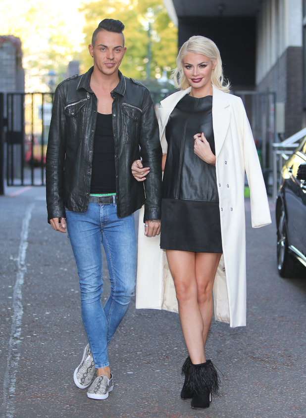 TOWIE stars Chloe Sims and Bobby Norris outside ITV Studios. 9 October 2015.