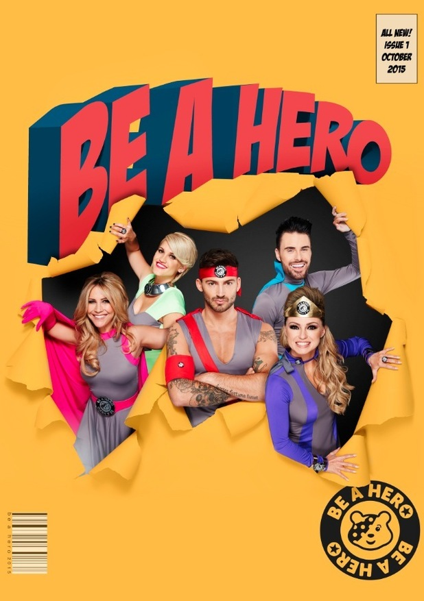 Jake Quickenden, Ola Jordan, Heidi Range, Rylan Clark and Ashley Roberts take part in the Celebrity Superheroes unveiled with Post Office's 'Be A Hero' Badge, October 2015