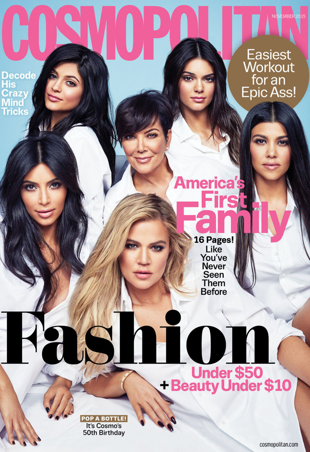 The Kardashian-Jenner's on the front cover of Cosmopolitan Magazine USA, 4th October 2015