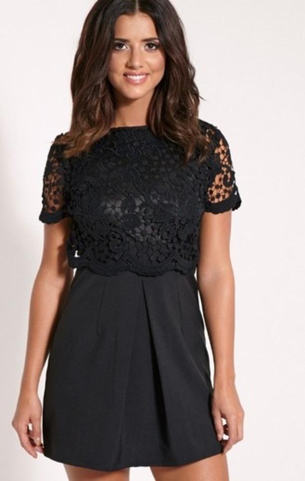 Felicia Black Crochet Lace Skater Dress, Pretty Little Thing, £25