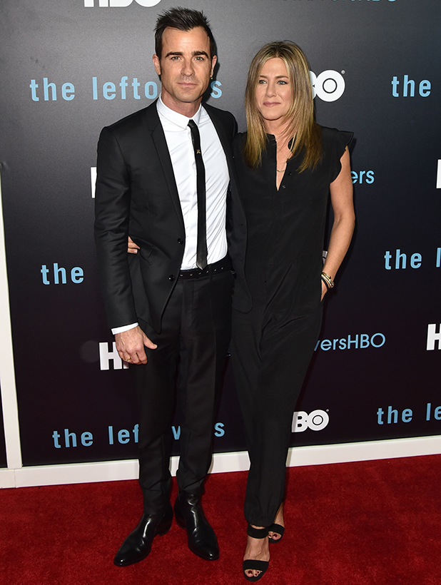 Justin Theroux and Jennifer Aniston attend HBO's 'The Leftovers' Season 2 Premiere at Paramount Theatre on October 3, 2015 in Austin, Texas. (Photo by C Flanigan/WireImage)