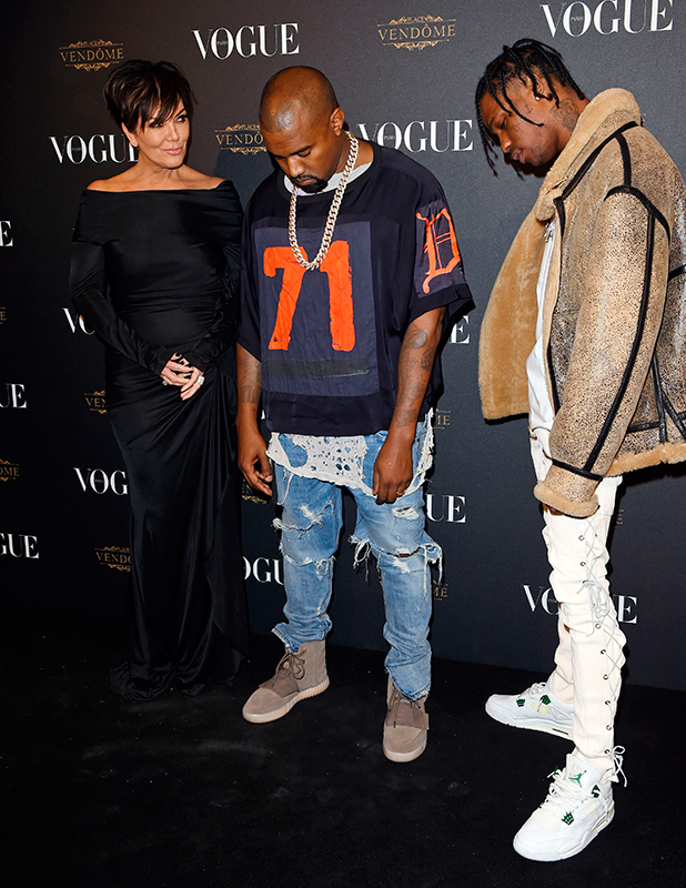 Vogue Paris 95th Anniversary Party, Spring Summer 2016, Paris Fashion Week, France - 03 Oct 2015 Kris Jenner, Kanye West and Travis Scott
