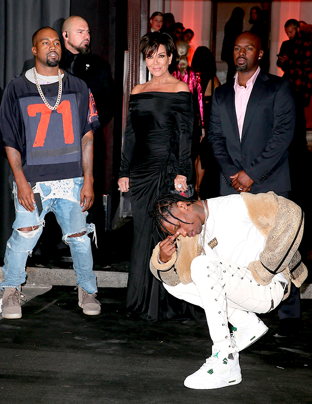Kanye West, Kris Jenner, Corey Gamble and Travis Scott arrive at Vogue 95th Anniversary Party as part of the Paris Fashion Week Womenswear Spring/Summer 2016 on October 3, 2015 in Paris, France. (Photo by Pierre Suu/Getty Images)