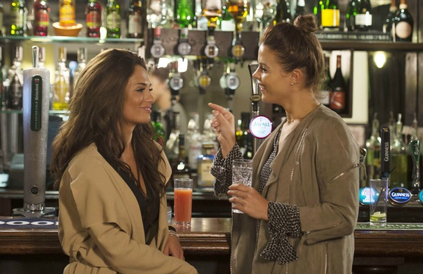 New cast member Nicole Bass has a conversation with Chloe Lewis over a drink. 7 Oct 2015