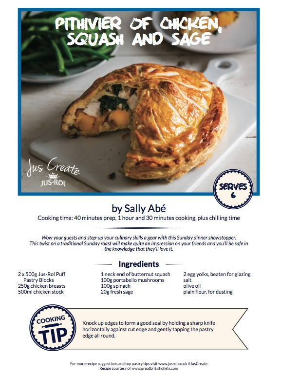 recipe card for chicken squash and sage pithivier pie