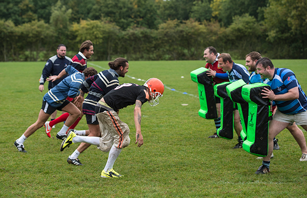 TOWIE cast members have a rugby lesson with Old Brentwood RFC.