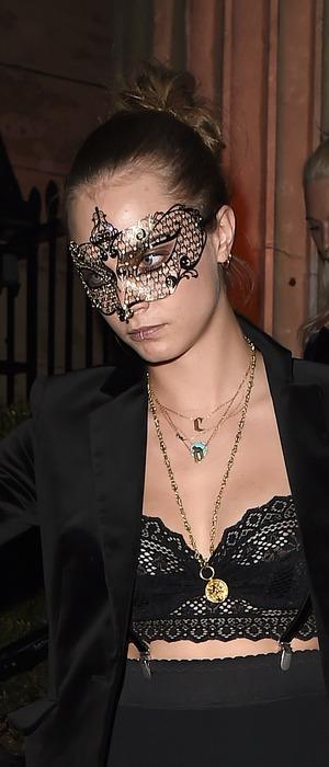 Cara Delevingne at Eva Cavalli's birthday party in London wearing lip ring, 12th October 2015