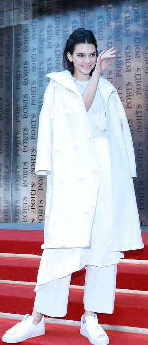 Kendall Jenner dressed in white at the Ports 1961show, Shanghai Fashion Week, 14th October 2015