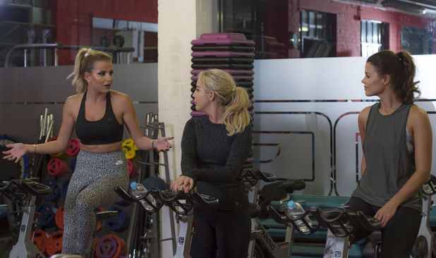 Chloe Lewis, Georgia Kousoulou, Lydia Bright at a spinning class, TOWIE 9 October