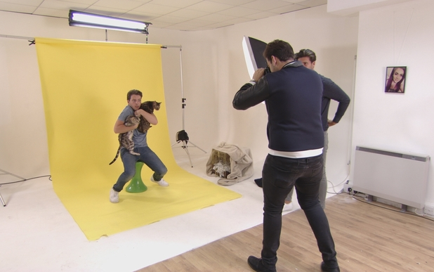 TOWIE: James 'Diags' Bennewith does a cat photoshoot with his two pet cats. Episode aired: Weds 14th October 2015.