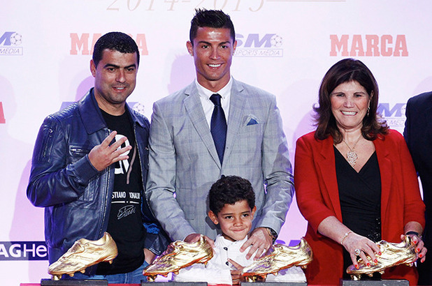 Hugo Aveiro, Cristiano Ronaldo, his son Cristiano Ronaldo jr, Maria Dolores Dos Santos Aveiro and Jose Andrade 13 Oct 2015
