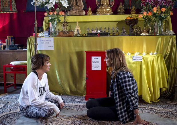 Jessica Wright and Ferne McCann meditating at the Budhist Centre - The Only Way is Essex' cast filming, Brentwood, Britain - 15 Oct 2015.