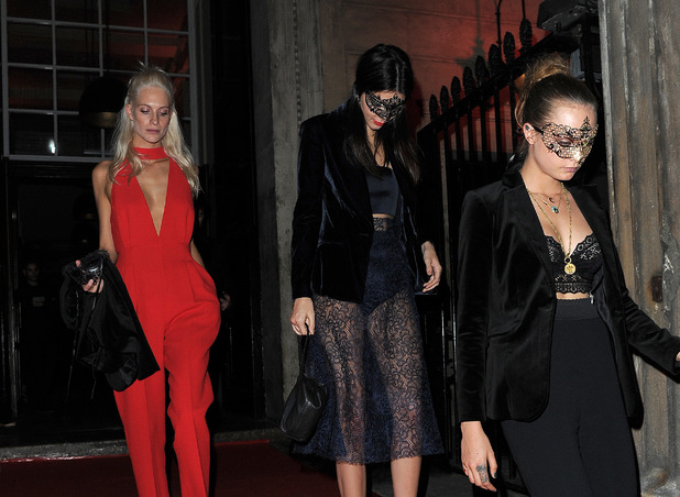 Cara Delevingne, Poppy Delevingne, Kendall Jenner at Eva Cavalli's birthday party in London wearing lip ring, 12th October 2015