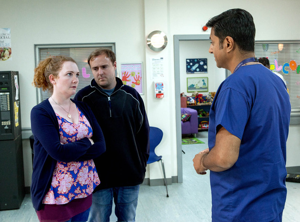Corrie, Fiz and Tyrone talk to the consultant, Wed 14 October