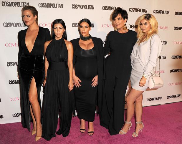 Kim Kardashian, Kourtney Kardashian, Kris Jenner, Kylie Jenner, Khloe Kardashian at Cosmopoltan's 50th birthday party in Hollywood 13th October 2015