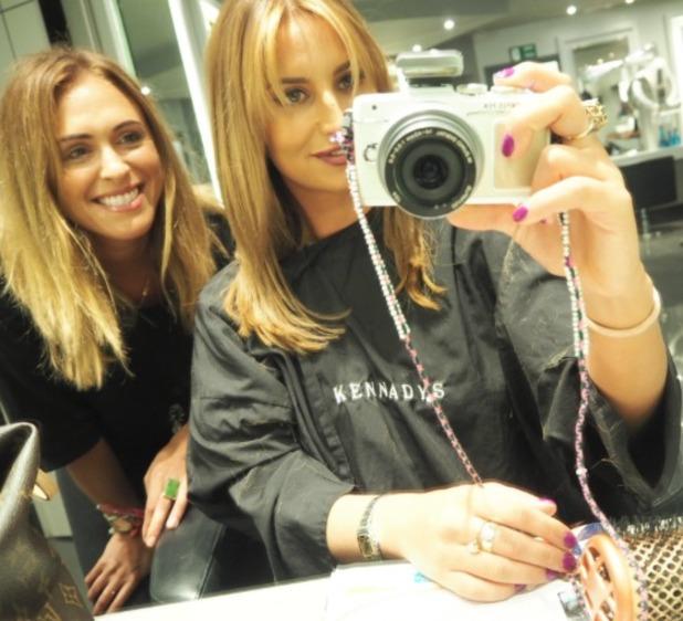 Ferne McCann gets new hair colour, cut and fringe by Alex Garcia at Kennedys Salon, 12 October 2015