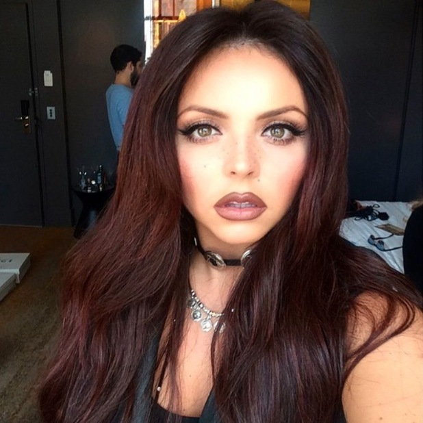 Jesy Nelson shares picture of brown lipstick on Instagram, 12th October 2015
