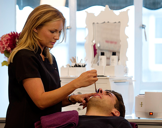 The Only Way is Essex' cast filming, Brentwood, Britain - 13 Oct 2015 James Argent at a beauty salon getting a nose wax