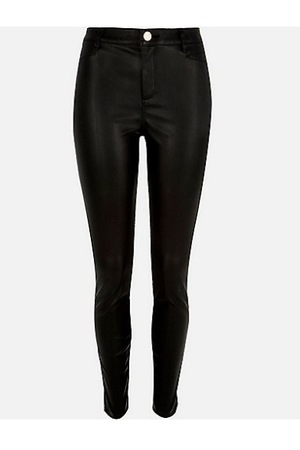 River Island Black skinny leather-look trousers, £40
