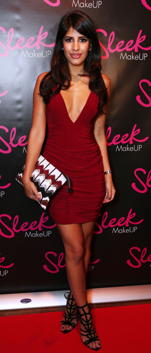 Jasmin Walia in red dress at the Sleek MakeUP Launch Party in London, 22nd October 2015