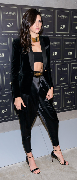Kendall Jenner poses at the Balmain X H&M Party in New York, 21st October 2015