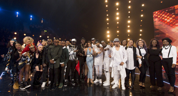 X Factor: Cheryl Fernandez-Versini and her final six groups at the Six Chair Challenge. 18 October 2015.