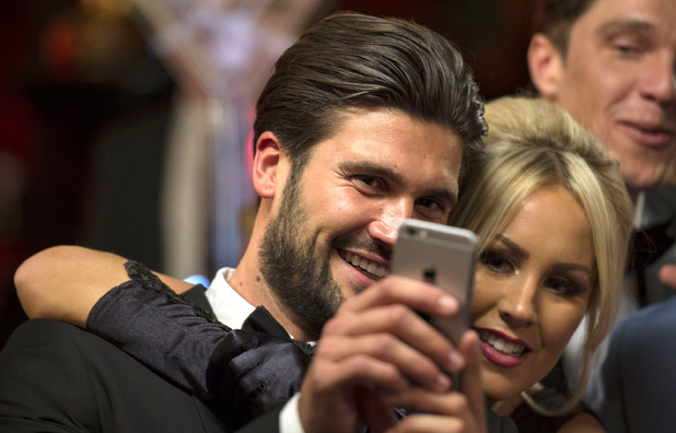 Dan Edgar and Kate Wright take a selfie, Michael Hassini's 21st birthday party, TOWIE 21 October